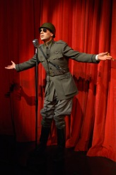 General Goodtimes (Ramiz Monsef) calls upon all good men to fight in The Unfortunates, playing at A.C.T.'s Strand Theater through Sunday, April 10. Photo by Kevin Berne.