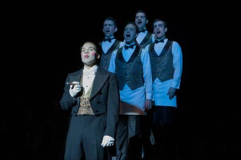Robin De Jesús as the Emcee and ensemble in Cabaret, produced by Music Circus at the Wells Fargo Pavilion July 26-31. Photo by Kevin Graft.