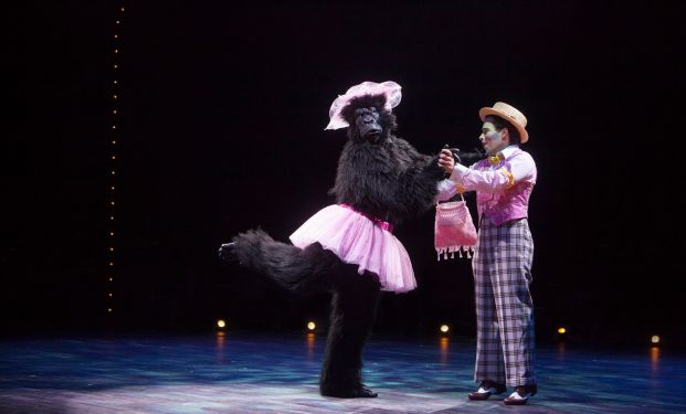 Matthew J. Kilgore as the Gorilla and Robin De Jesús as the Emcee in Cabaret, produced by Music Circus at the Wells Fargo Pavilion July 26-31. Photo by Charr Crail.
