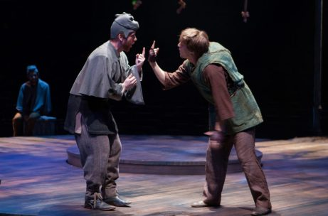 (L to R) Jim Hogan as the Voice of Quasimodo and John McGinty as Quasimodo in The Hunchback of Notre Dame, produced by Music Circus at the Wells Fargo Pavilion August 23-28. Photo by Kevin Graft.