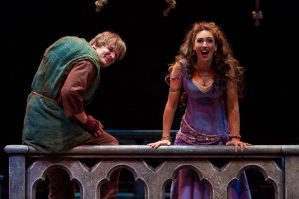 (L to R) John McGinty as Quasimodo and Lesli Margherita as Esmeralda in The Hunchback of Notre Dame, produced by Music Circus at the Wells Fargo Pavilion August 23-28. Photo by Kevin Graft.