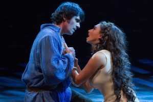 (L to R) Eric Kunze as Captain Phoebus de Martin and Lesli Margherita as Esmeralda in The Hunchback of Notre Dame, produced by Music Circus at the Wells Fargo Pavilion August 23-28. Photo by Kevin Graft.