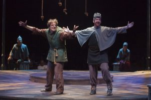 (L to R) John McGinty as Quasimodo and Jim Hogan as the Voice of Quasimodo in The Hunchback of Notre Dame, produced by Music Circus at the Wells Fargo Pavilion August 23-28. Photo by Charr Crail.
