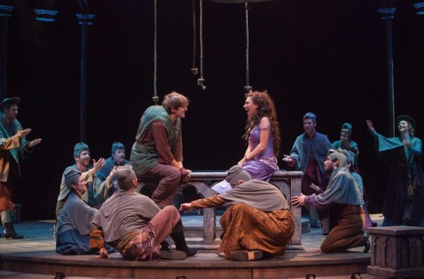 (L to R) John McGinty as Quasimodo and Lesli Margherita as Esmeralda in The Hunchback of Notre Dame, produced by Music Circus at the Wells Fargo Pavilion August 23-28. Photo by Charr Crail.
