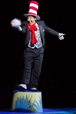 Jason Graae as the Cat in the Hat in Seussical, produced by Music Circus at the Wells Fargo Pavilion July 12-17. Photo by Kevin Graft.