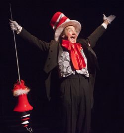 Jason Graae as the Cat in the Hat in Seussical, produced by Music Circus at the Wells Fargo Pavilion July 12-17. Photo by Charr Crail.