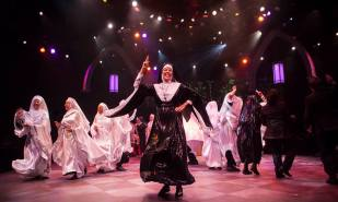 Lynne Wintersteller as Mother Superior and the company of Sister Act produced by Music Circus at the Wells Fargo Pavilion August 22 - 27. Photo by Charr Crail.