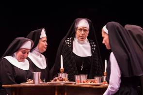 Katherine Cooper, Nicole Sterling, Mary Jo Mecca as Mary Theresa and Jeanna De Waal as Mary Robert in Sister Act produced by Music Circus at the Wells Fargo Pavilion August 22 - 27. Photo by Charr Crail.