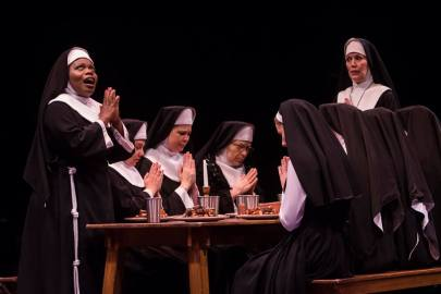 Zonya Love as Deloris Van Cartier, Lynne Wintersteller as Mother Superior and the company of Sister Act produced by Music Circus at the Wells Fargo Pavilion August 22 - 27. Photo by Charr Crail.