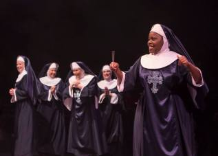 Nikki Switzer as Mary Patrick and Jeanna De Waal as Mary Robert in Sister Act produced by Music Circus at the Wells Fargo Pavilion August 22 - 27. Photo by Kevin Graft.