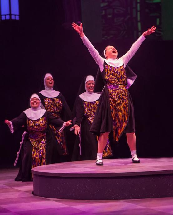 Jeanna De Waal as Mary Robert and the company of Sister Act produced by Music Circus at the Wells Fargo Pavilion August 22 - 27. Photo by Charr Crail.